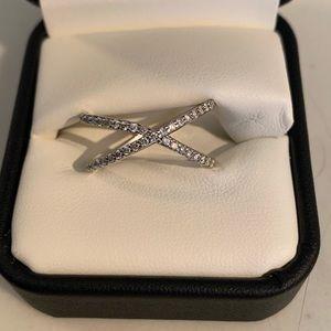 Pave Diamond X Ring